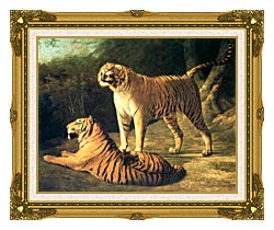 Jacques Laurent Agasse Two Tigers Life Size canvas with museum ornate gold frame