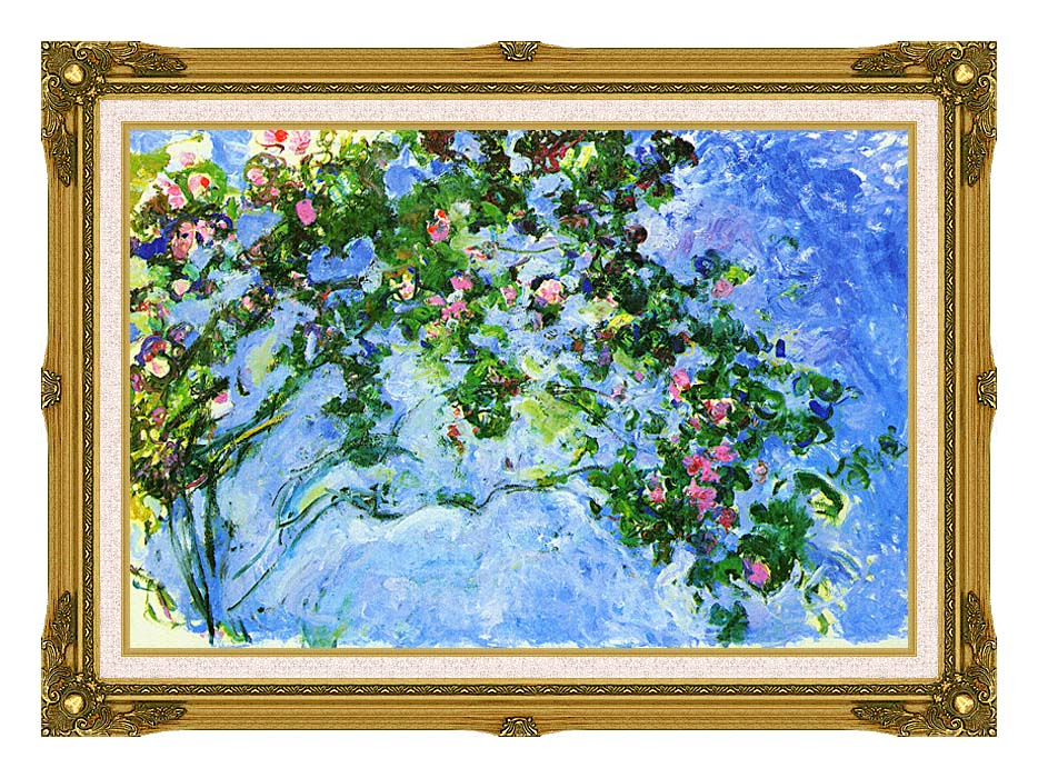 Claude Monet The Roses with Museum Ornate Frame w/Liner