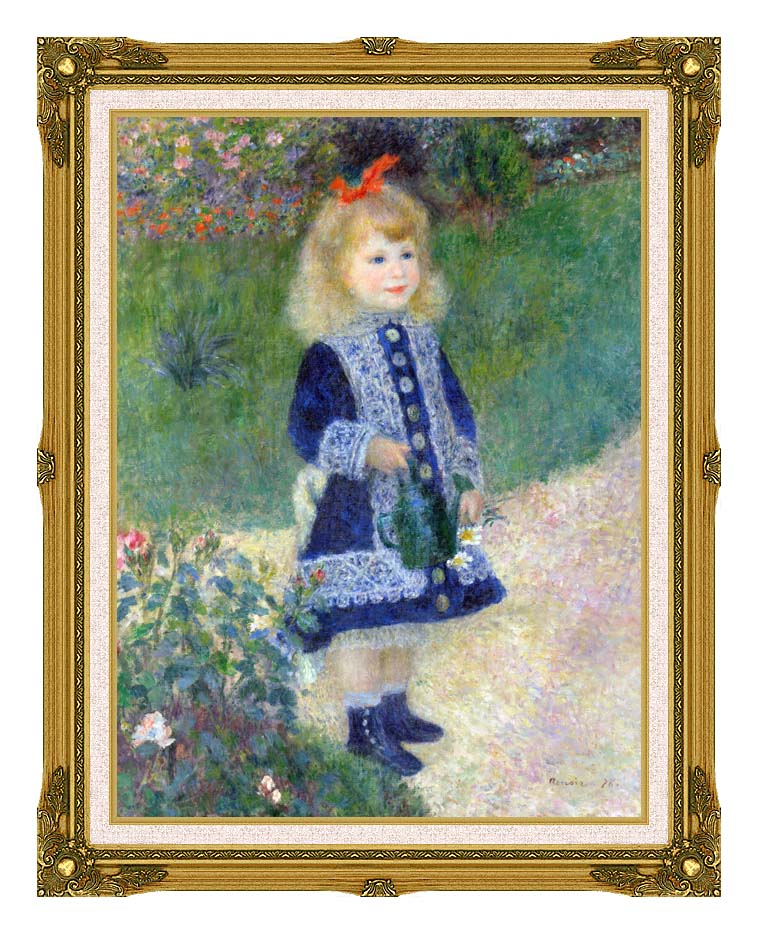 Pierre Auguste Renoir A Girl with a Watering-Can with Museum Ornate Frame w/Liner