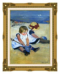 Mary Cassatt Children Playing On The Beach canvas with museum ornate gold frame