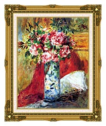 Pierre Auguste Renoir Roses In A Vase canvas with museum ornate gold frame