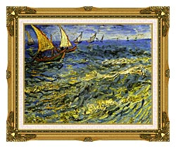 Vincent Van Gogh Seascape At Saintes Maries canvas with museum ornate gold frame