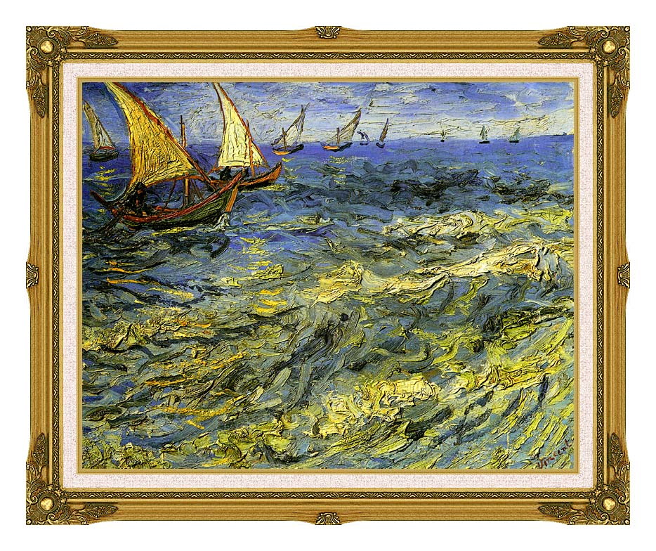 Vincent van Gogh Seascape at Saintes-Maries with Museum Ornate Frame w/Liner