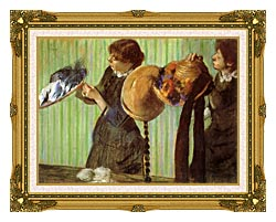 Edgar Degas Little Milliners canvas with museum ornate gold frame