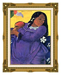 Paul Gauguin Woman With Mango canvas with museum ornate gold frame