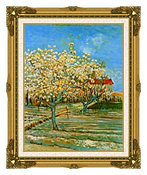 Vincent Van Gogh Orchard In Blossom canvas with museum ornate gold frame