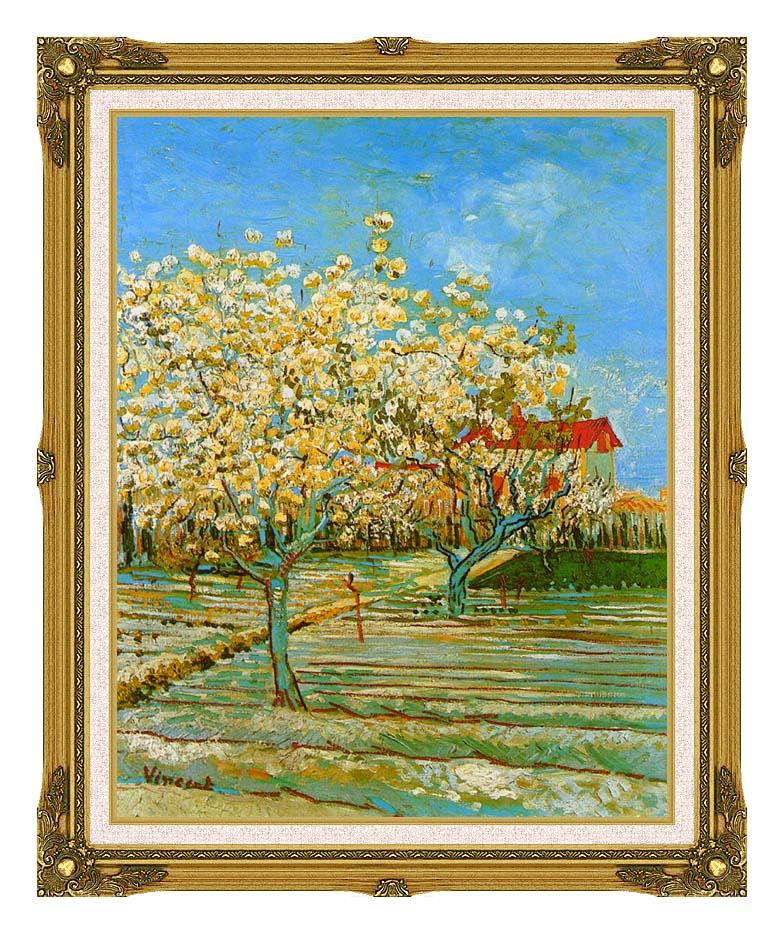 Vincent van Gogh Orchard in Blossom with Museum Ornate Frame w/Liner