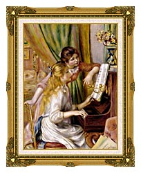 Pierre Auguste Renoir At The Piano canvas with museum ornate gold frame