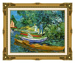 Vincent Van Gogh Bank Of The Oise At Auvers canvas with museum ornate gold frame