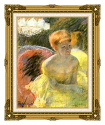 Mary Cassatt At The Theater Woman In A Loge canvas with museum ornate gold frame