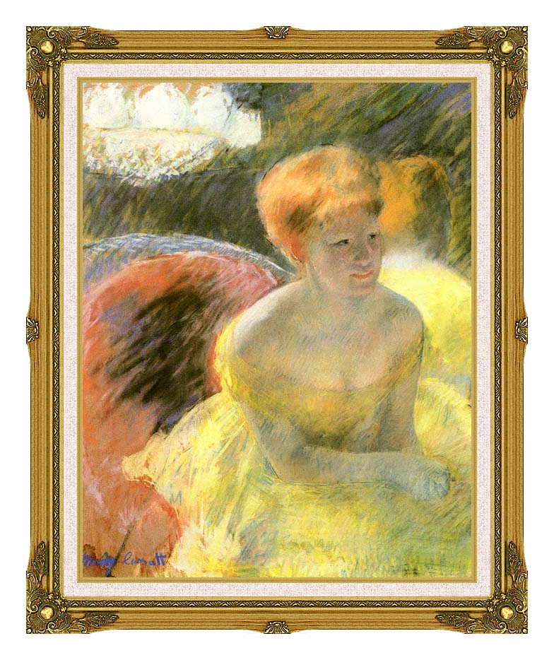 Mary Cassatt At the Theater (Woman in a Loge) with Museum Ornate Frame w/Liner