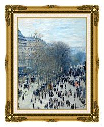Claude Monet Boulevard Des Capucines canvas with museum ornate gold frame
