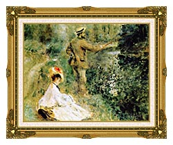 Pierre Auguste Renoir The Angler canvas with museum ornate gold frame
