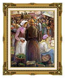 Camille Pissarro Market At Pontoise canvas with museum ornate gold frame