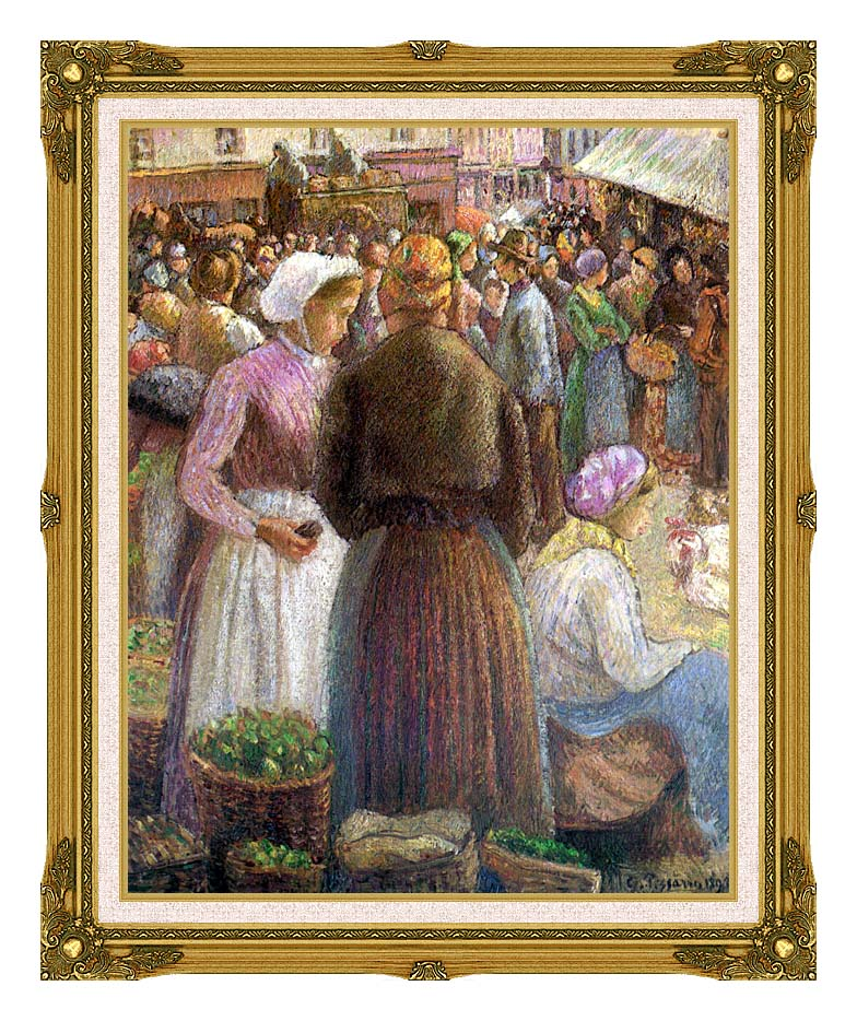 Camille Pissarro Market at Pontoise with Museum Ornate Frame w/Liner