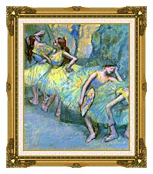 Edgar Degas Ballet Dancers In The Wings canvas with museum ornate gold frame