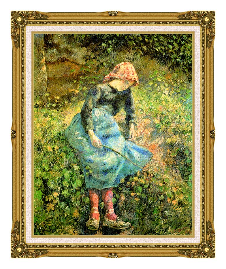 Camille Pissarro The Shepherdess with Museum Ornate Frame w/Liner