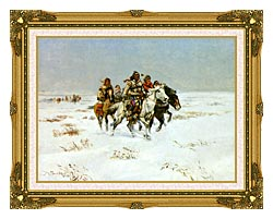 Charles Russell The Snow Trail canvas with museum ornate gold frame