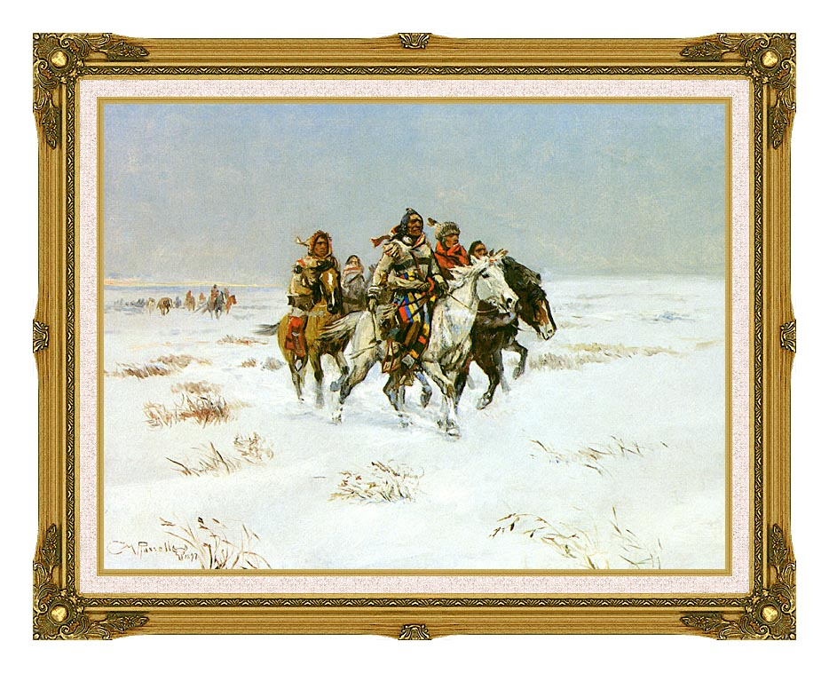 Charles Russell The Snow Trail with Museum Ornate Frame w/Liner