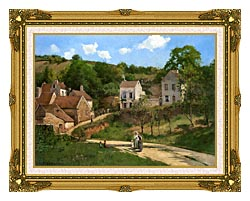 Camille Pissarro The Hermitage At Pontoise canvas with museum ornate gold frame