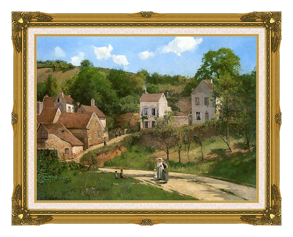Camille Pissarro The Hermitage at Pontoise with Museum Ornate Frame w/Liner