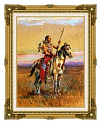 Charles Russell The Scout canvas with museum ornate gold frame
