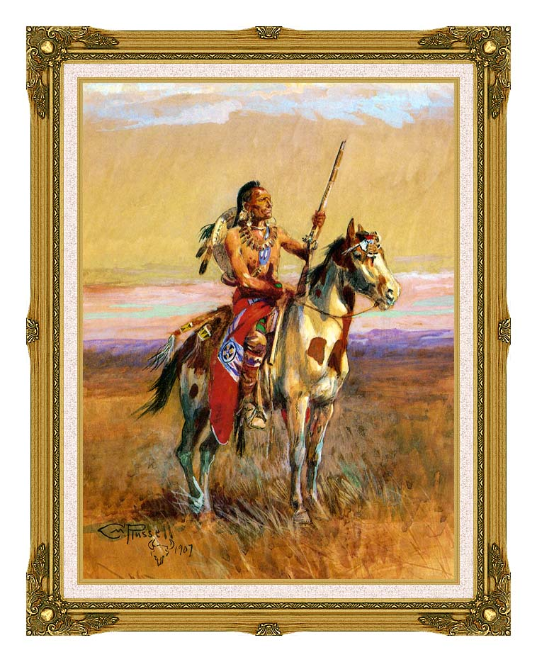 Charles Russell The Scout with Museum Ornate Frame w/Liner