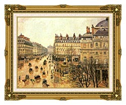 Camille Pissarro Place Du Theatre Francais Rain canvas with museum ornate gold frame