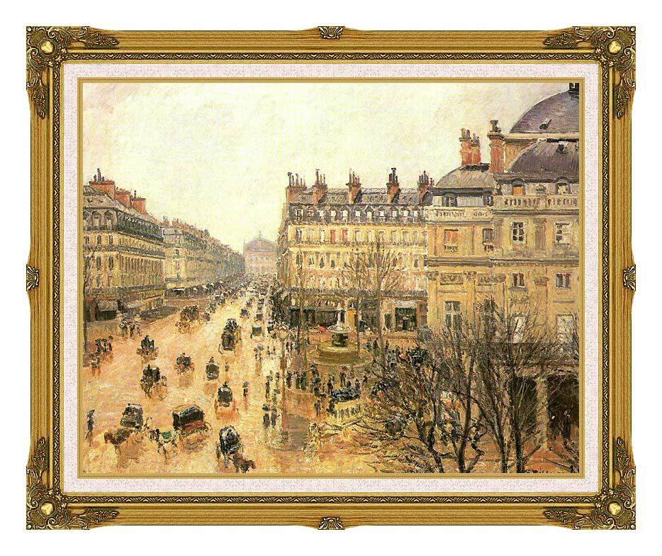 Camille Pissarro Place du Theatre Francais, Rain with Museum Ornate Frame w/Liner