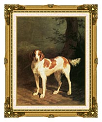 Jacques Laurent Agasse Dash A Setter canvas with museum ornate gold frame
