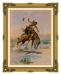 Charles Russell The Bucker canvas with museum ornate gold frame