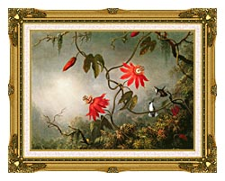 Martin Johnson Heade Passion Flowers And Hummingbirds canvas with museum ornate gold frame
