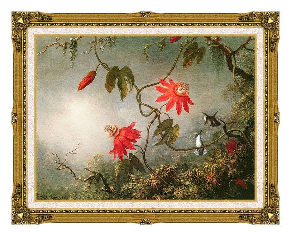Martin Johnson Heade Passion Flowers and Hummingbirds with Museum Ornate Frame w/Liner