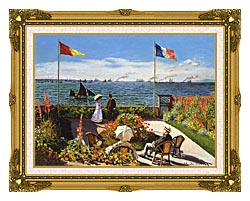 Claude Monet Terrace At Sainte Adresse canvas with museum ornate gold frame