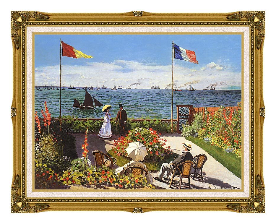 Claude Monet Terrace at Sainte-Adresse with Museum Ornate Frame w/Liner