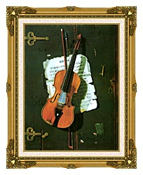 John Frederick Peto The Old Violin canvas with museum ornate gold frame