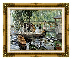 Pierre Auguste Renoir La Grenouillere canvas with museum ornate gold frame
