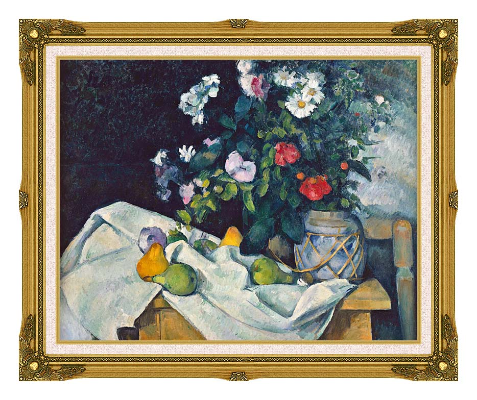 Paul Cezanne Flowers and Pears with Museum Ornate Frame w/Liner