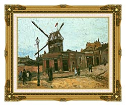 Vincent Van Gogh Le Moulin De La Galette canvas with museum ornate gold frame