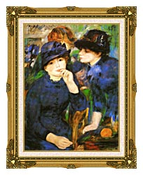 Pierre Auguste Renoir Two Girls canvas with museum ornate gold frame