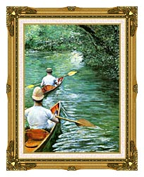 Gustave Caillebotte Canoeing canvas with museum ornate gold frame