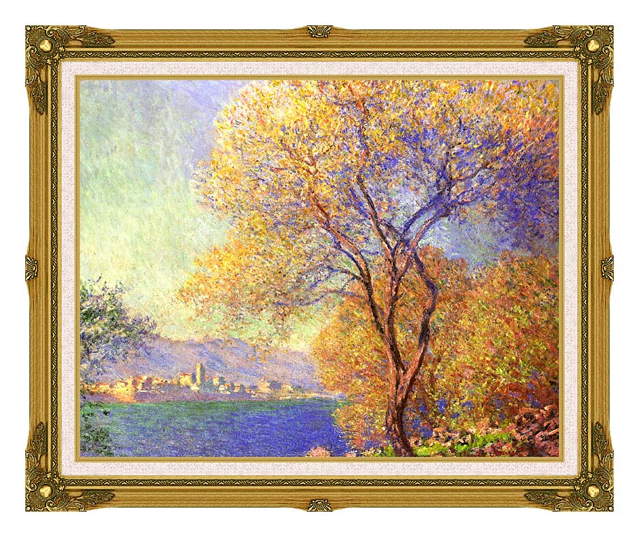 Claude Monet Antibes Seen from La Salis with Museum Ornate Frame w/Liner