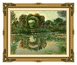 Claude Monet The Flowering Arches Giverny Detail canvas with museum ornate gold frame