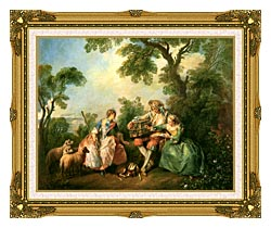 Nicolas Lancret The Birdcage canvas with museum ornate gold frame