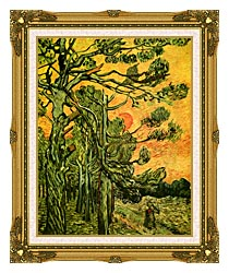 Vincent Van Gogh Pine Trees Against A Red Sky With Setting Sun canvas with museum ornate gold frame