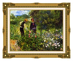 Pierre Auguste Renoir Conversation With The Gardener canvas with museum ornate gold frame