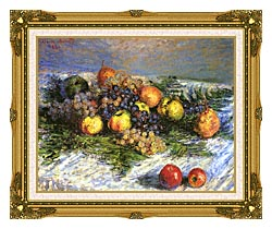 Claude Monet Pears And Grapes canvas with museum ornate gold frame