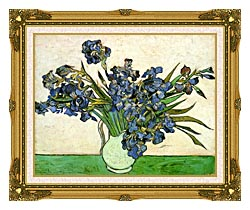 Vincent Van Gogh Still Life Vase With Irises canvas with museum ornate gold frame