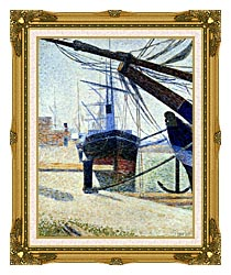 Georges Seurat The Harbor At Honfleur canvas with museum ornate gold frame