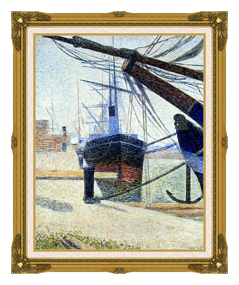Georges Seurat The Harbor at Honfleur with Museum Ornate Frame w/Liner